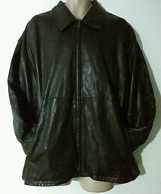 Men's Leather Coat Size XL Today's Man Classics Black Leather Lined