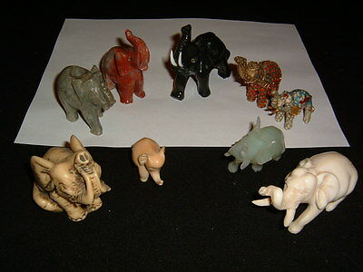 Excellent Elephant Figurine Collection Hardstone, Cloisonne +++ Nice Group