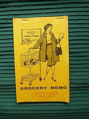 Vintage 1940s Store Advertising Grocery Memo Yellow Pages Auburn Cleaners Michig