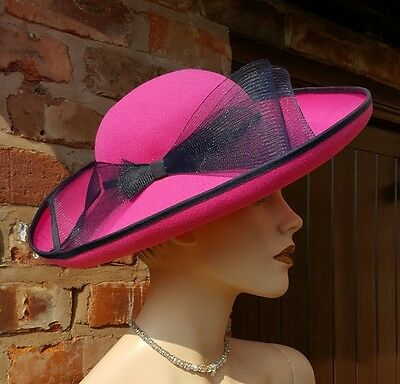 Jacques Vert Hat Pink Navy Blue Race Ascot Wedding Mother Of The Bride £179