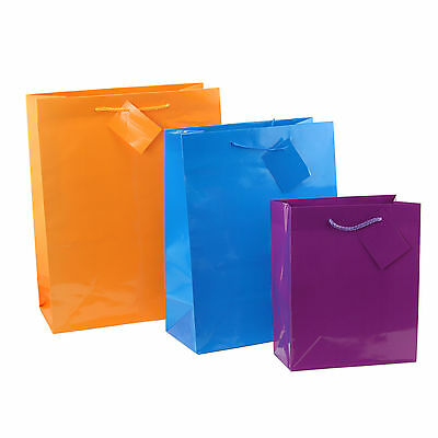 12pc Bright Neon GIFT Bags Colorful Paper Bags Small, Medium, Large