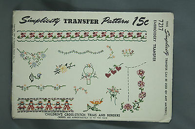Vtg 40s Simplicity Embroidery Transfer Pattern 7217 Cross Stitch Trims Borders