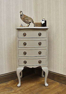 Attractive Hand Painted Reproduction Bedside Chest, Pale Taupe, shabby chic
