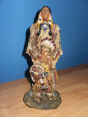 Native American Red Indian Figurine - Indian Brave With Son