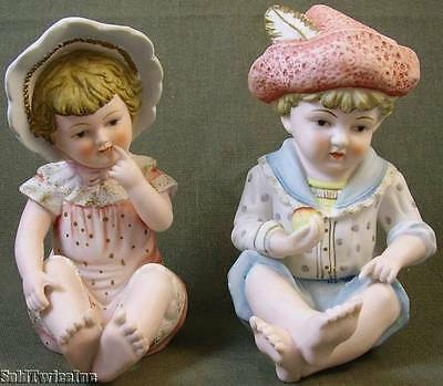 Vintage Hand-Painted Girl & Boy Piano Baby Figurines