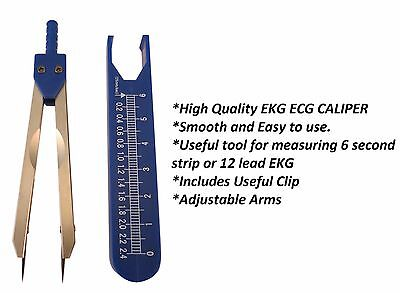 Deluxe BLUE ECG EKG Caliper With Cover Ruler Compass New,US Seller