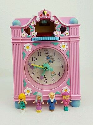 vintage polly pocket Fun Time Clock Playset Pink 100%Complete Excellent cond..