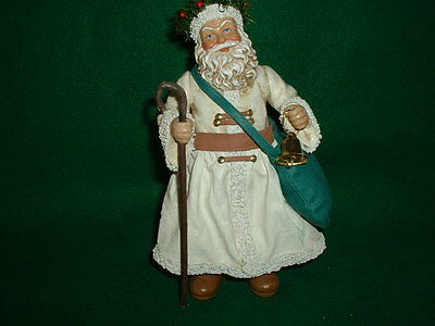 """Clothtique - By Possible Dreams - 7"""" Santa In White Coat - Bell & Cane"""