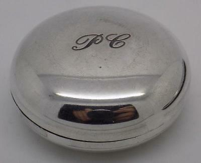 Vintage Solid Silver Round Pill / Snuff / Trinket Box - Stamped - Made in Italy