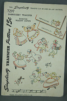 Vtg 40s Simplicity Embroidery Transfer Pattern 7297 Dancing Peasant Outline