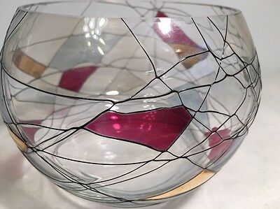 Hand Blown Stained Euro Glass Round Bowl Candle Holder Made In Romania