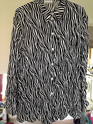 VINTAGE GERRY WEBBER Ladies Size 40 Eur Black And White Blouse