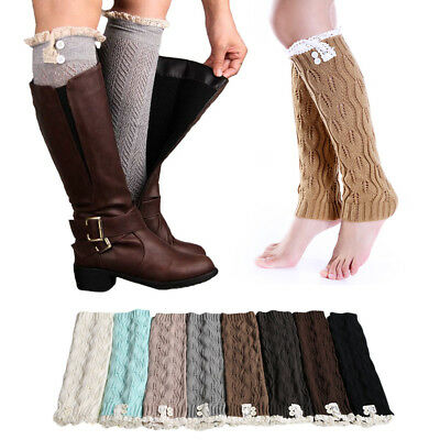 NEW Ladies Winter Leg Warmers Lace Boot Knit Knitted Crochet Warm Socks Leggings
