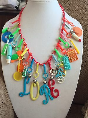 Vintage New 80's Plastic Bell Charm Necklace Retro Clip On 20 Charms 1980 Party