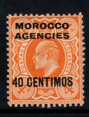 1910 Overprint Morocco Agencies Spanish Currency SG118 40c on 4d Orange MM