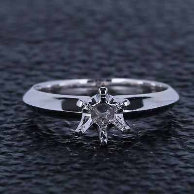 Solid 10K White Gold Semi Mount Engagement Ring Setting Knife-edge Round 5.5mm