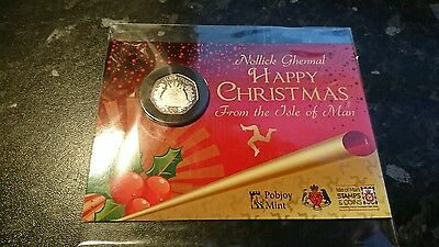 2016 ISLE OF MAN CHRISTMAS PUDDING 50p COIN IN GIFT PACK - FREE P&P - Sealed