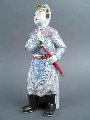 Fine Old Chinese 19th/20th Republic Porcelain Famille Rose figurine Warrior