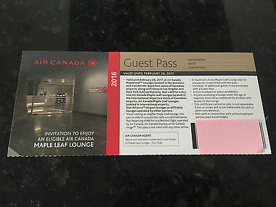 AIR CANADA Maple Leaf Lounge Guest Pass - Expiry Feb. 28, 2017