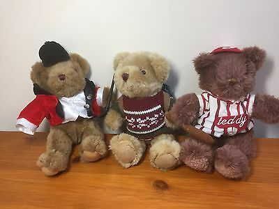 The Teddy Bear Collection Plushes 3x bundle lot vintage 22cm/8.6 inches bargain.