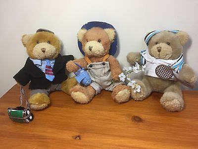 The Teddy Bear Collection Plushes 3x bundle vintage 22cm/8.6 inches bargain.