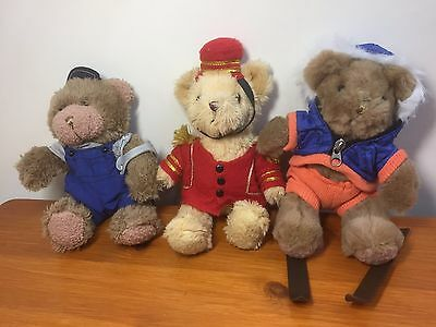 The Teddy Bear Collection Plushes 3x job lot vintage 22cm/8 inches bargain.