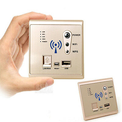 High Power Wireless Repeater AP Router WIFI USB Ladebuchse Panel Wall Mounted