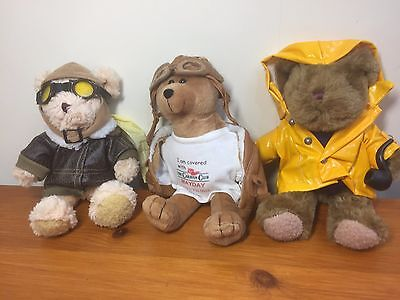 The Teddy Bear Collection Plushes bundle of 3 vintage 22cm/8 inches bargain.