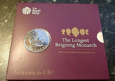 The Royal Mint Longest Reigning Monarch 2015 UK £5 BU Coin