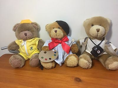 The Teddy Bear Collection Plushes teddy bears 3x vintage 22cm/8 inches bargain.