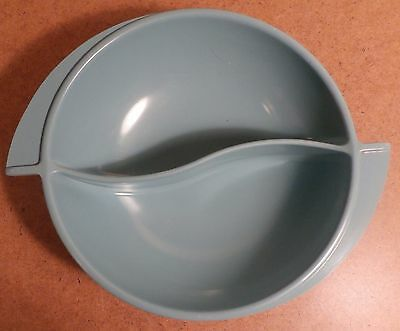 "Vintage Boonton Ware Aqua/Turquoise 10"" Divided Casserole Bowl Dish"