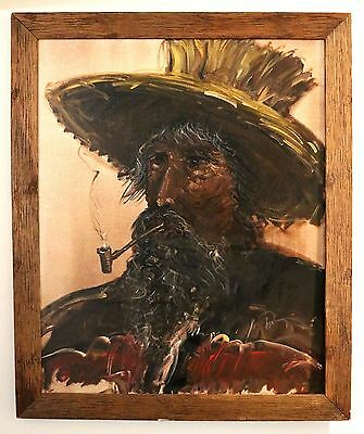 LARGE Vintage Oil Painting on Canvas - Indistinctly Signed - Man with Pipe