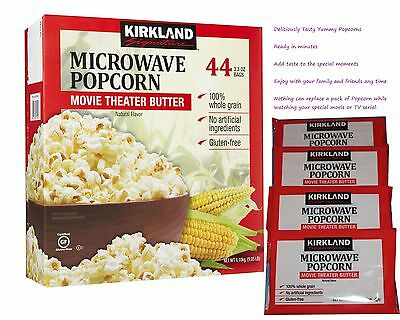 Kirkland Signature Microwave Popcorn Movie Theater Butter Natural 3.3 oz 44 Bags