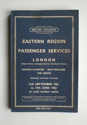 British Railways Timetable Eastern Region September 1961 to June 1962