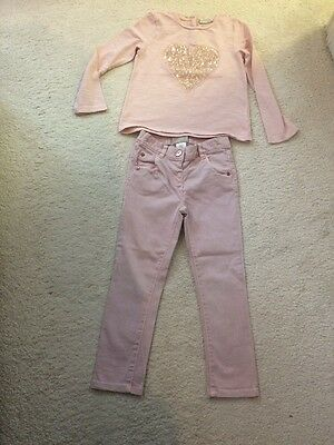 Next Girls Pink Trousers & Top Size 3-4 Years VGC