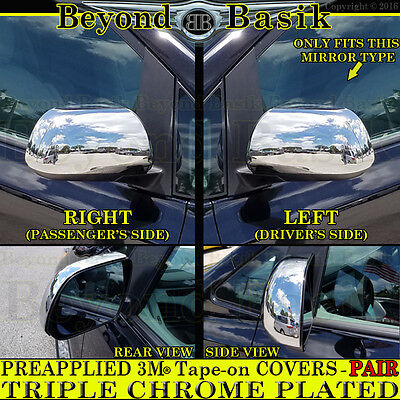 Chrome Mirror COVERS Overlay Trims For 2008-2013 TOYOTA HIGHLANDER 11-19 SIENNA