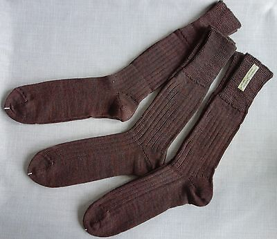 Job Lot 3 Pairs Vintage New Warm Ribbed Long Socks 50% Wool 50% Cotton Size12