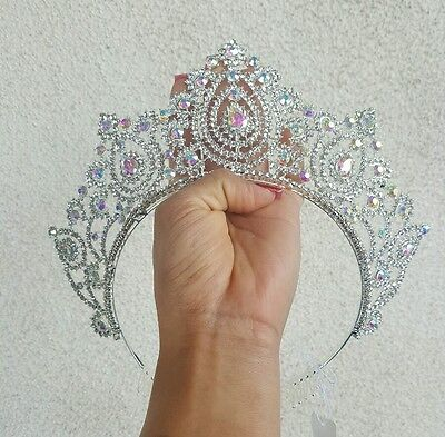 Beauty pageant Ariel little Mermaid IRIDESCENT SILVER CRYSTAL Back TIARA CROWN