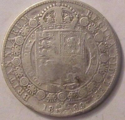 UK GREAT BRITAIN Half Crown 1889 Victoria silver genuine