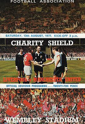 Liverpool V Manchester United Programme Fa Charity Shield 13/8/77