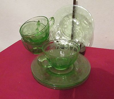 Cameo Ballerina Green Depression Glass Cup and Saucer Sets Lot of 4 Hocking