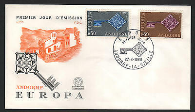 PG-A015 ANDORRA-FRENCH - Europa Cept, Fdc Cover, 1968, Churches