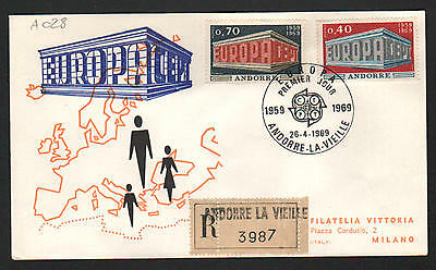 PG-A028 ANDORRA-FRENCH - Europa Cept, 1969 Fdc, La Vieille, Registered Cover