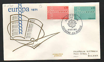 PG-A030 ANDORRA-FRENCH - Europa Cept, Fdc Cover, 1971, To Italy