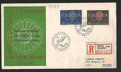 PG-A084 FINLAND - Europa Cept, Fdc Cover, 1960 Reg. Helsinki To Milan Italy