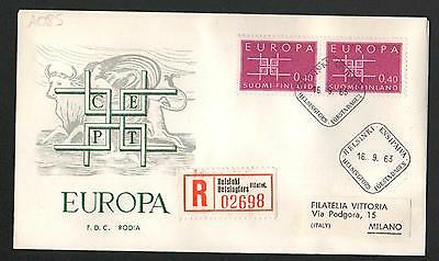 PG-A085 FINLAND - Europa Cept, Fdc Cover, 1963 Reg. Helsinki To Milan Italy