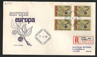 PG-A087 FINLAND - Europa Cept, Fdc Cover 1965 Reg. Helsinki To Italy Block Of 4