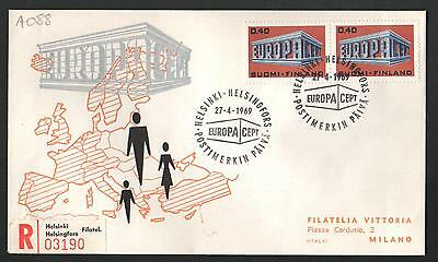 PG-A088 FINLAND - Europa Cept, Fdc Cover, 1969 Reg. Helsinki To Milan Italy