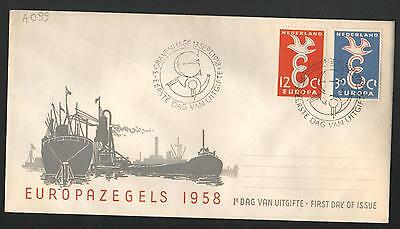 PG-A099 NETHERLANDS - Europa Cept, Fdc Cover, 1958 Ships