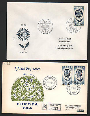 PG-A138 NORWAY - Europa Cept, Fdc Covers, 1964 To Hamburg Germany, Milan Italy